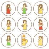 Sistema de iconos dibujados mano con dioses griegos Foto de archivo