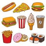Sistema de iconos dibujados mano de los alimentos de preparación rápida del vintage ilustración del vector