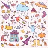 Sistema de iconos dibujados mano del otoño stock de ilustración