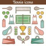 Sistema de iconos dibujados mano del tenis libre illustration