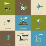 Sistema de iconos diseñados planos de la ecología Foto de archivo libre de regalías