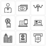 Sistema de 9 iconos editable simples tales como presentación, pasaporte, edificio, ordenador portátil, Internet, tecleo, búsqueda Fotos de archivo libres de regalías