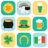 Sistema de iconos el día de St Patrick Estilo plano Imágenes de archivo libres de regalías