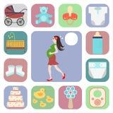 Sistema de iconos, embarazada Foto de archivo libre de regalías