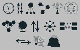 Sistema de iconos en comunicaciones de un tema Vector Imagen de archivo libre de regalías