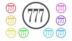 Sistema de iconos en el color, ejemplo, 777, suerte Foto de archivo