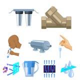 Sistema de iconos en el tema del agua El agua es la más importante del mundo icono de la filtración del agua en la colección del  Imagen de archivo