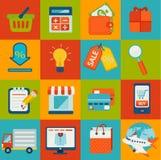 Sistema de iconos en línea de las compras Fotografía de archivo libre de regalías