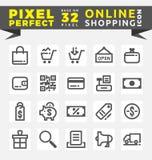 Sistema de iconos en línea de las compras stock de ilustración