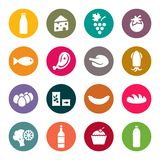 Sistema de iconos en una comida del tema Imagen de archivo