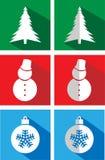 Sistema de iconos en una Navidad plana Foto de archivo libre de regalías