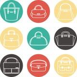 Sistema de iconos femeninos coloridos del ejemplo de los bolsos Foto de archivo