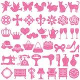 Sistema de iconos femeninos Conjunto del sello Imágenes de archivo libres de regalías