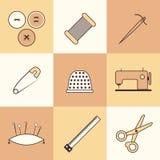 Sistema de iconos finos de la costura Fotografía de archivo libre de regalías