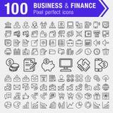 Sistema de iconos finos de la línea finanzas, de las actividades bancarias y del negocio Foto de archivo