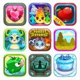 Sistema de iconos frescos divertidos del juego de la tienda del app Imagen de archivo libre de regalías