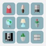 Sistema de 9 iconos interiores en estilo plano, Se acodan los iconos Fotografía de archivo