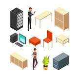 Sistema de iconos isométricos de la oficina Estante del servidor, tabla, butaca, ordenador, tabla, armario ilustración del vector