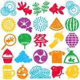 Sistema de iconos japoneses del verano sistema colorido del sello Imagenes de archivo