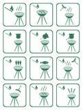 Sistema de iconos de la barbacoa Fotos de archivo