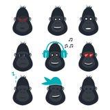 Sistema de iconos de la cara del gorila Iconos de las emociones del mono Imágenes de archivo libres de regalías