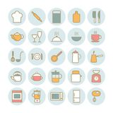 Sistema de iconos de la cocina del esquema Imagen de archivo