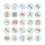 Sistema de iconos de la construcción y del edificio del esquema del vector Fotos de archivo
