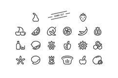 Sistema de iconos de la fruta y del postre en la línea estilo fina foto de archivo