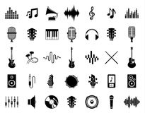 Sistema de iconos de la música del vector aislados en blanco ilustración del vector