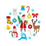 Sistema de iconos de la Navidad Imagenes de archivo