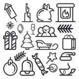 Sistema de iconos de la Navidad en un estilo plano Vector ilustración del vector