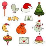 Sistema de iconos de la Navidad plana del diseño y del Año Nuevo ilustración del vector