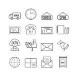 Sistema de iconos de la oficina de correos del esquema del vector Foto de archivo