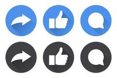 Sistema de iconos de la parte, como y del comentario con la sombra larga ilustración del vector
