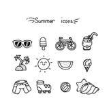 Sistema de iconos lindos del verano Imagen de archivo