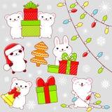 Sistema de iconos lindos de la fiesta de Navidad en estilo del kawaii stock de ilustración