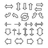 Sistema de iconos lineares de las flechas Fotografía de archivo libre de regalías