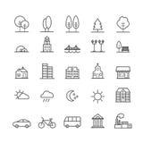 Sistema de iconos lineares de los elementos del paisaje de la ciudad Iconos finos para el web, impresión, apps móviles Imágenes de archivo libres de regalías