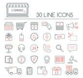 Sistema de iconos lineares del comercio electrónico Línea moderna iconos para la página del negocio, del desarrollo web y del ate Fotos de archivo libres de regalías