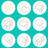 Sistema de iconos lineares del tiempo Diseño plano Fotografía de archivo