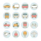 Sistema de iconos lineares del transporte del vector Foto de archivo libre de regalías