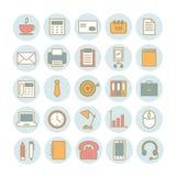Sistema de iconos lineares del vector de materiales de oficina Imagen de archivo