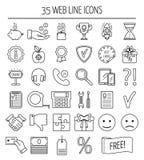 Sistema de iconos lineares del web Línea iconos para la página del negocio, del desarrollo web y del aterrizaje Diseño plano Vect Imagenes de archivo