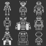 Sistema de iconos lineares planos del vector de diversos robots de las siluetas en fondo negro Ilustración del vector Foto de archivo libre de regalías