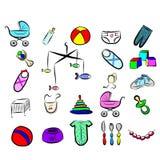 Sistema de iconos llevados bebé Ilustración del Vector