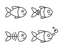 Sistema de iconos de los pescados pescados muertos y vivos libre illustration
