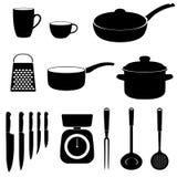 Sistema de iconos de los utensilios de la cocina Foto de archivo