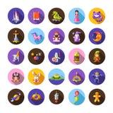 Sistema de iconos mágicos del diseño plano de los cuentos de hadas y Fotos de archivo libres de regalías