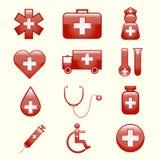 Sistema de iconos médicos stock de ilustración