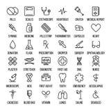 Sistema de iconos médicos en línea fina moderna libre illustration